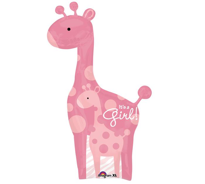 Pink giraffe balloon for It s a girl dekoration